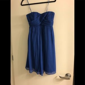 Blue silk J. Crew strapless dress